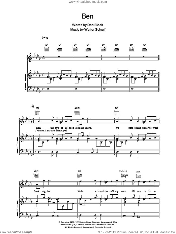 Ben sheet music for voice, piano or guitar by Boyzone. Score Image Preview.