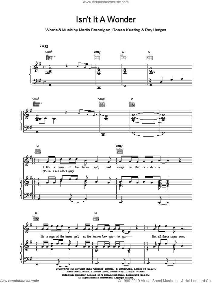 Isnt It A Wonder sheet music for voice, piano or guitar by Boyzone. Score Image Preview.