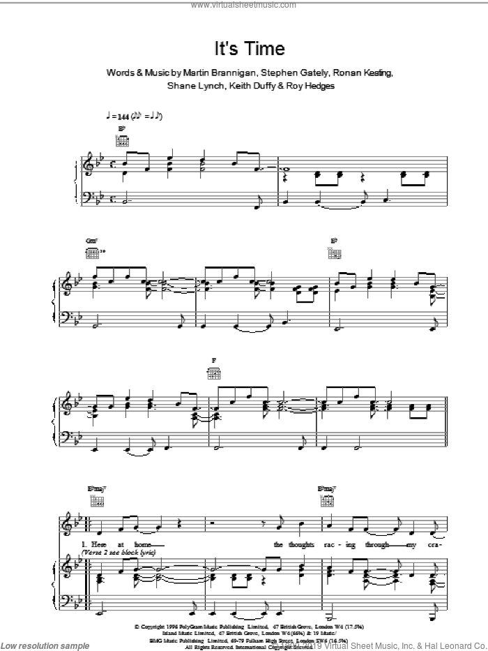 Its Time sheet music for voice, piano or guitar by Boyzone