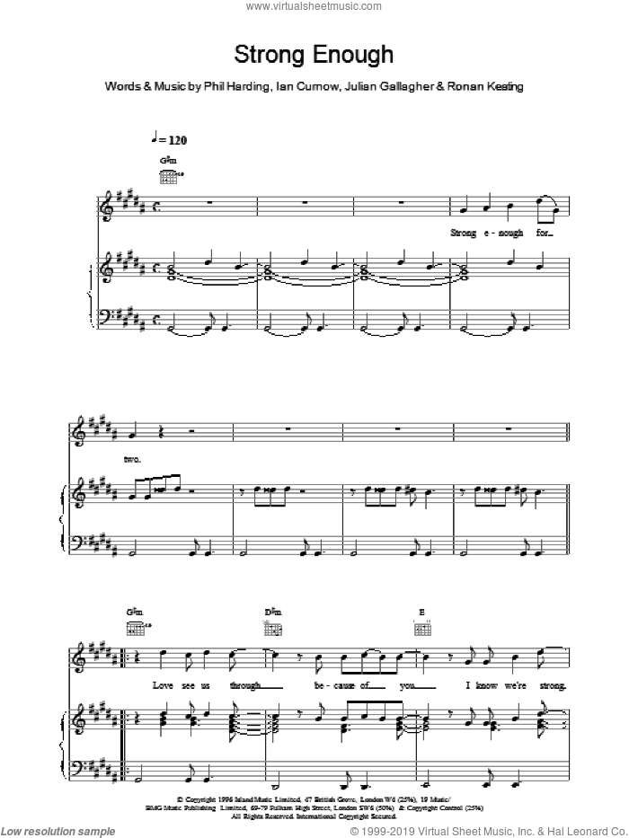Strong Enough sheet music for voice, piano or guitar by Boyzone