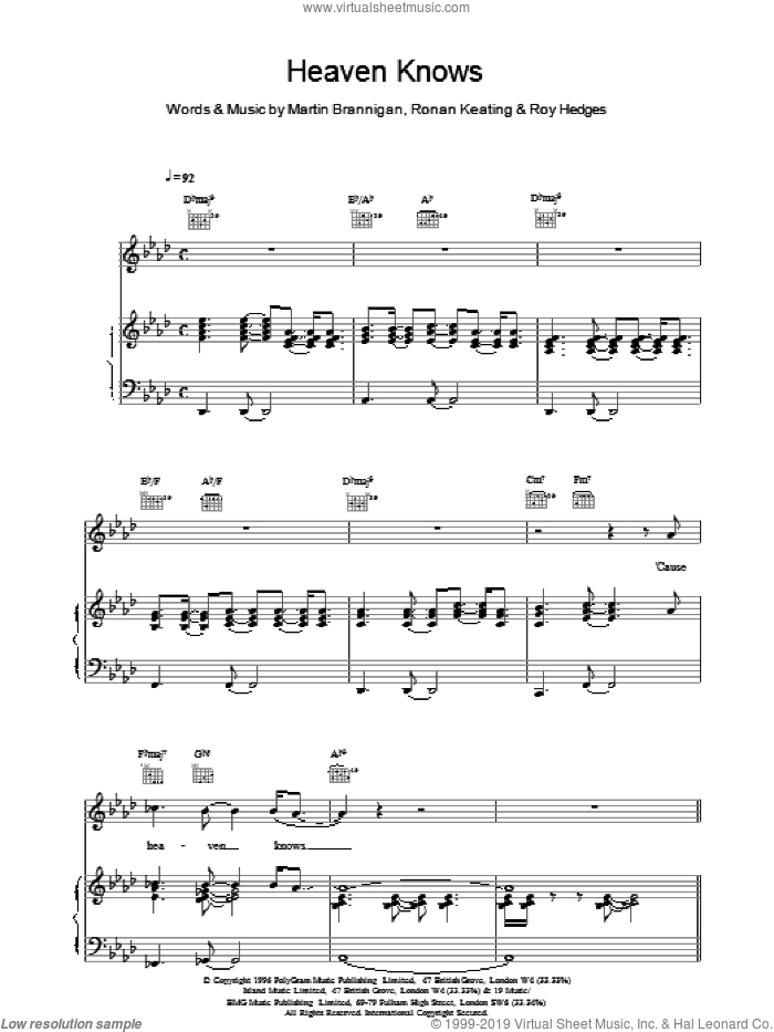 Heaven Knows sheet music for voice, piano or guitar by Boyzone, intermediate. Score Image Preview.