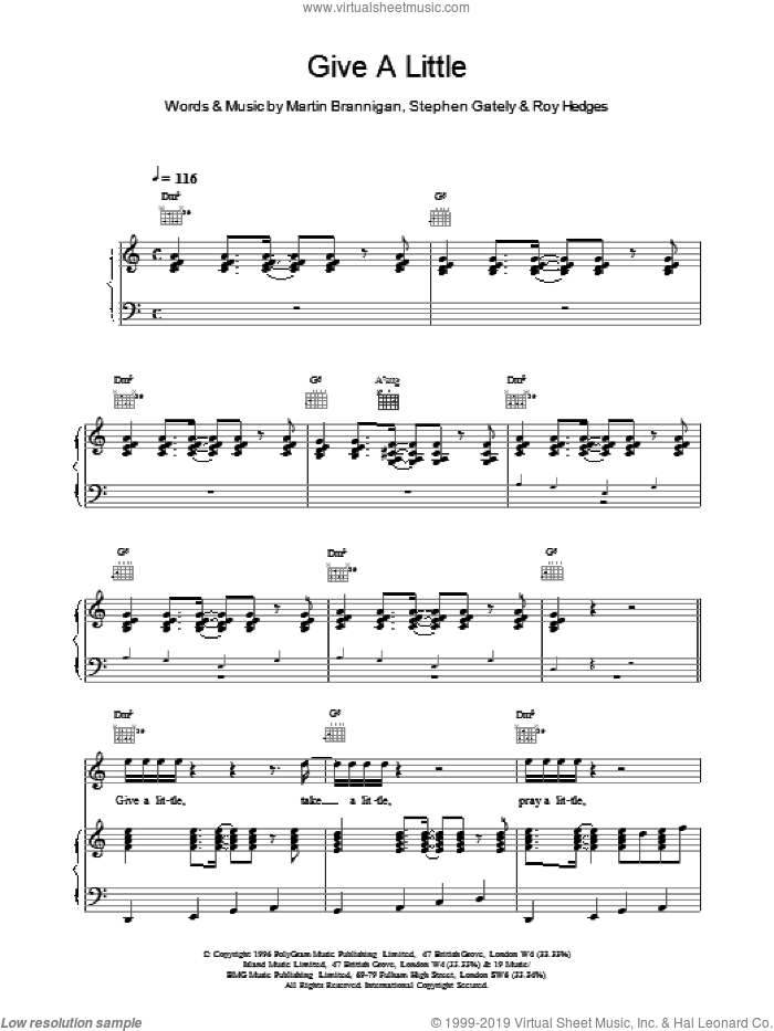 Give A Little sheet music for voice, piano or guitar by Boyzone, intermediate. Score Image Preview.