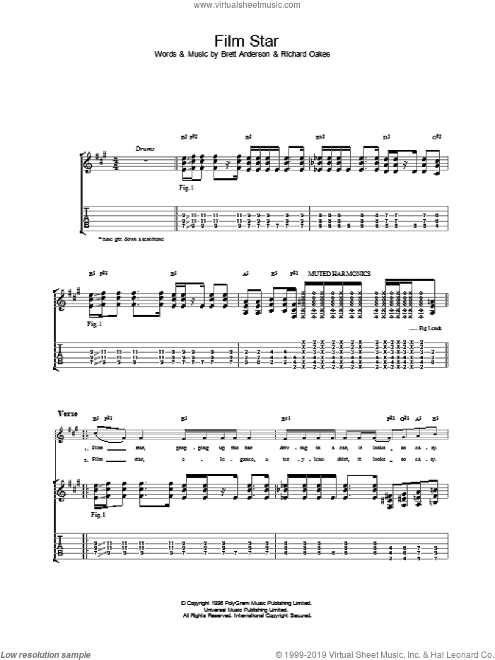 Film Star sheet music for guitar (tablature) by Suede, intermediate. Score Image Preview.