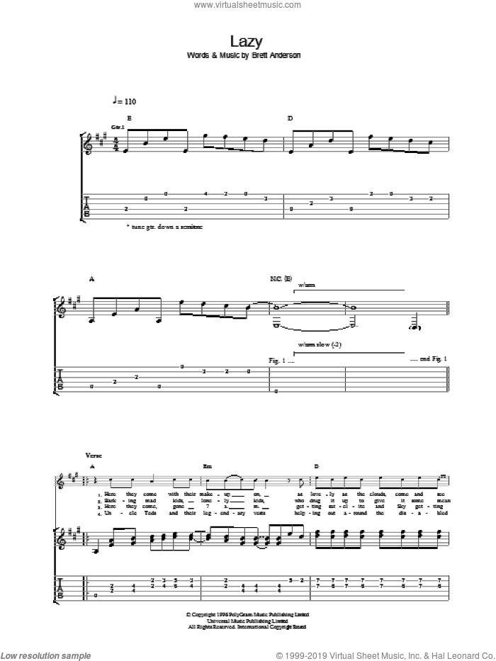 Lazy sheet music for guitar (tablature) by Suede