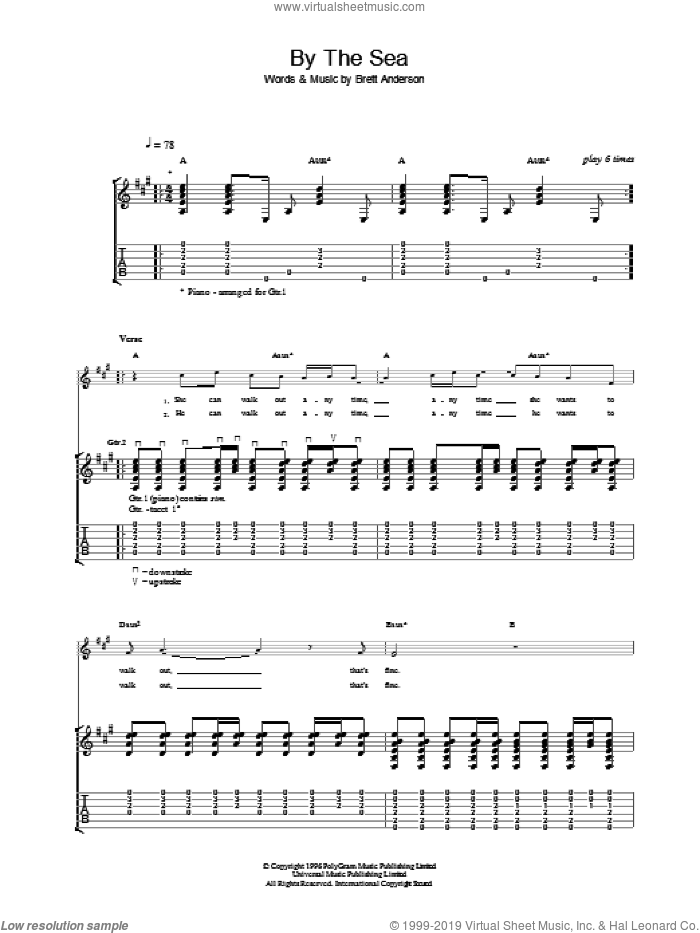 By The Sea sheet music for guitar (tablature) by Suede. Score Image Preview.