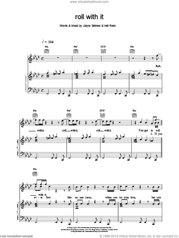 Roll With It sheet music for voice, piano or guitar by Backstreet Boys. Score Image Preview.
