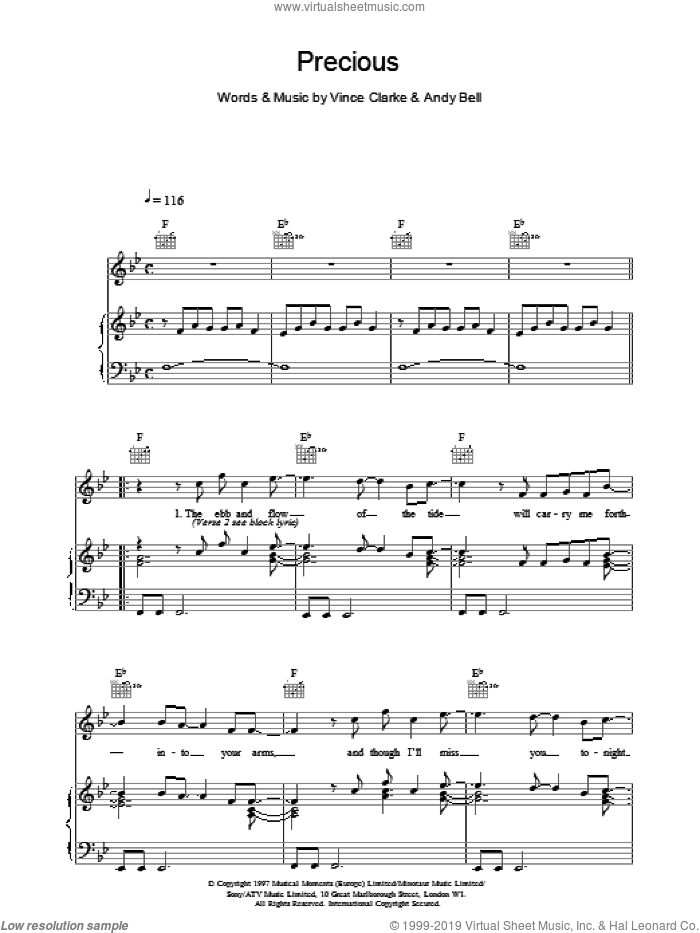 Precious sheet music for voice, piano or guitar by Erasure, intermediate