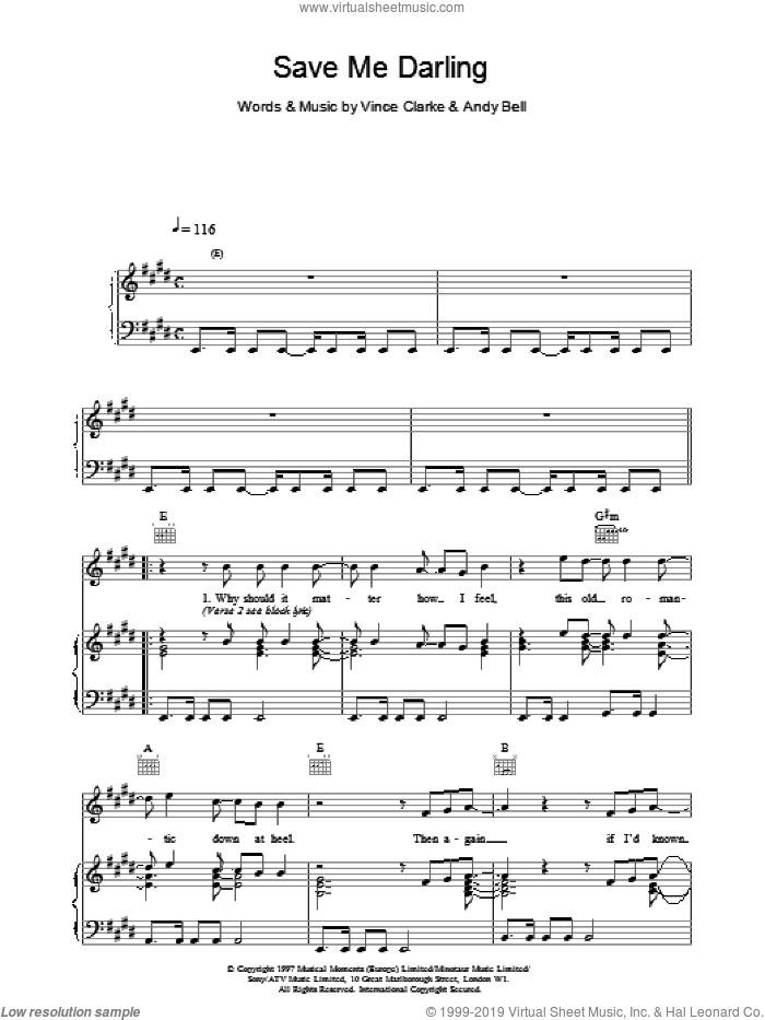 Save Me Darling sheet music for voice, piano or guitar by Erasure. Score Image Preview.