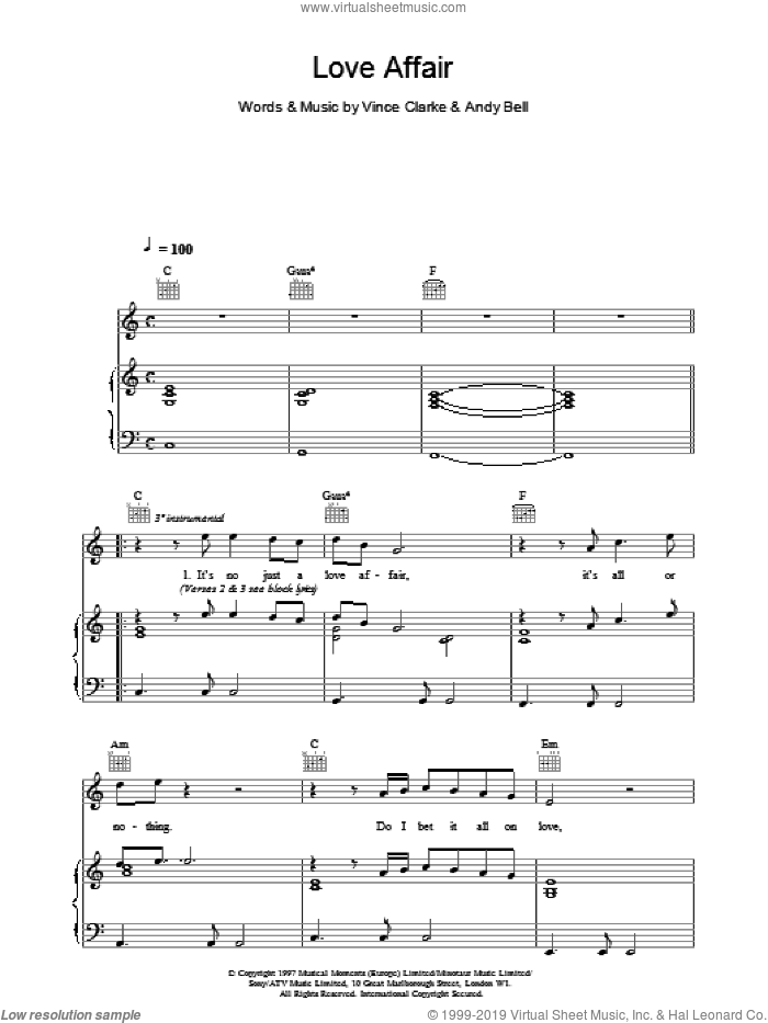 Love Affair sheet music for voice, piano or guitar by Erasure. Score Image Preview.