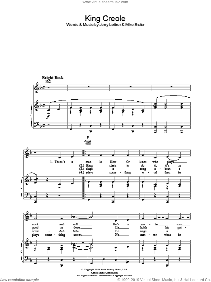 King Creole sheet music for voice, piano or guitar by Mike Stoller, Elvis Presley and Jerry Leiber. Score Image Preview.