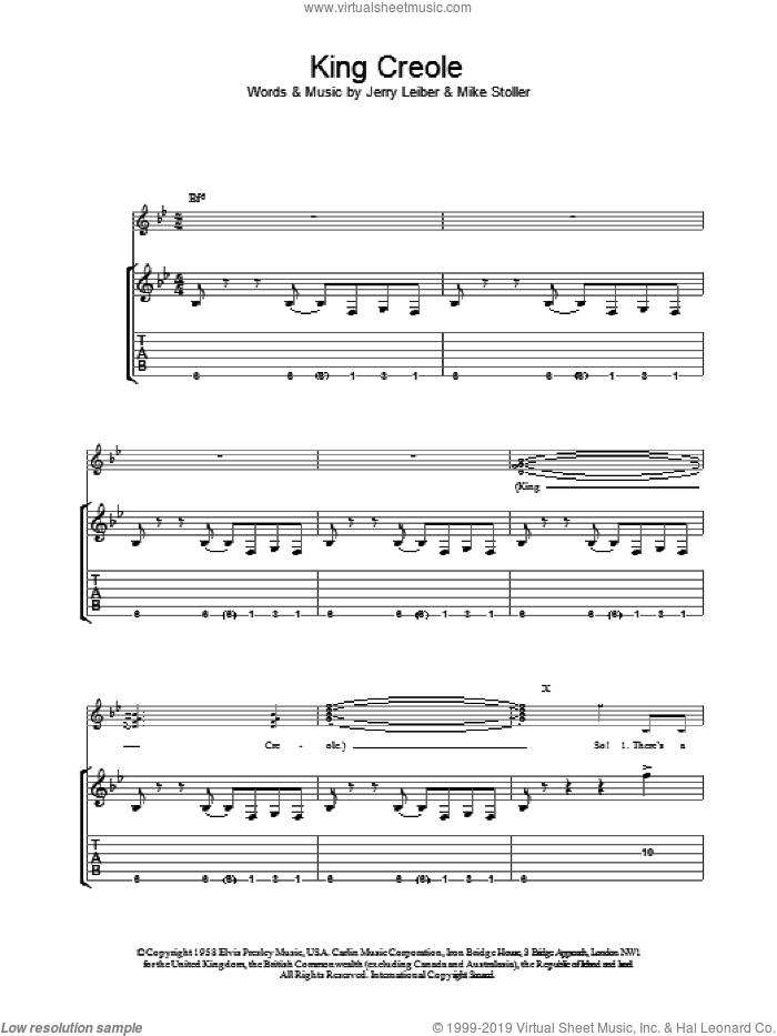 King Creole sheet music for guitar (tablature) by Mike Stoller, Elvis Presley and Jerry Leiber. Score Image Preview.