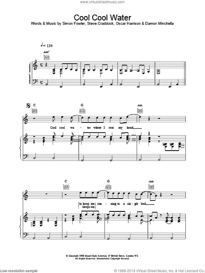 Cool Cool Water sheet music for voice, piano or guitar by Ocean Colour Scene