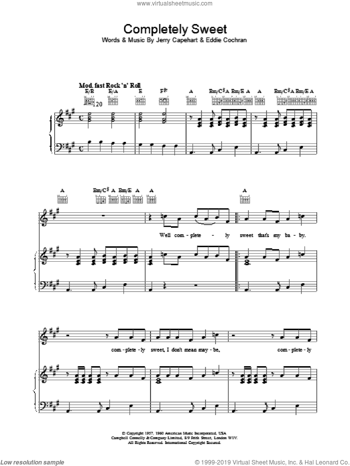 Completely Sweet sheet music for voice, piano or guitar by Eddie Cochran. Score Image Preview.