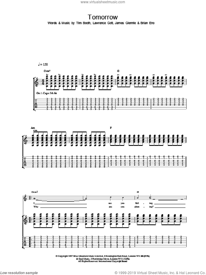 Tomorrow sheet music for guitar (tablature) by Alex James, intermediate. Score Image Preview.