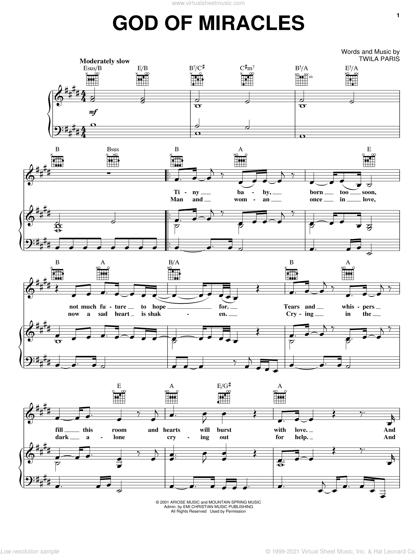 God Of Miracles sheet music for voice, piano or guitar by Twila Paris. Score Image Preview.