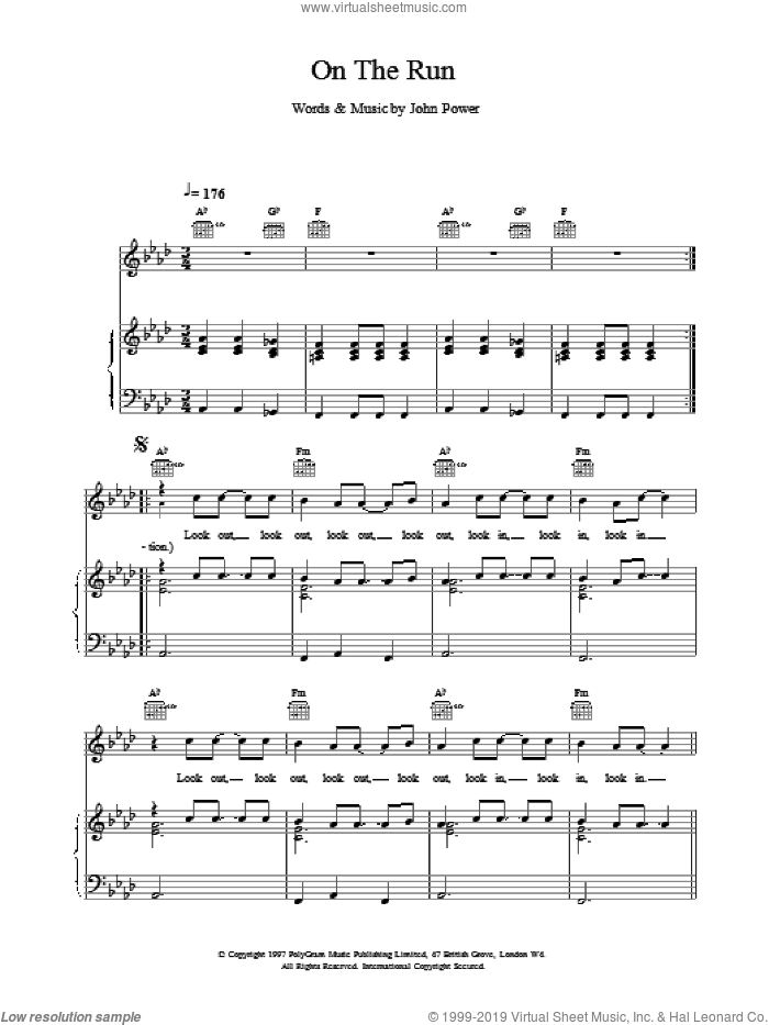 On The Run sheet music for voice, piano or guitar by John Power. Score Image Preview.