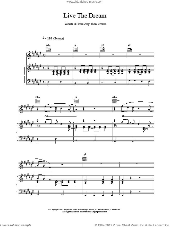 Live The Dream sheet music for voice, piano or guitar by John Power, intermediate skill level