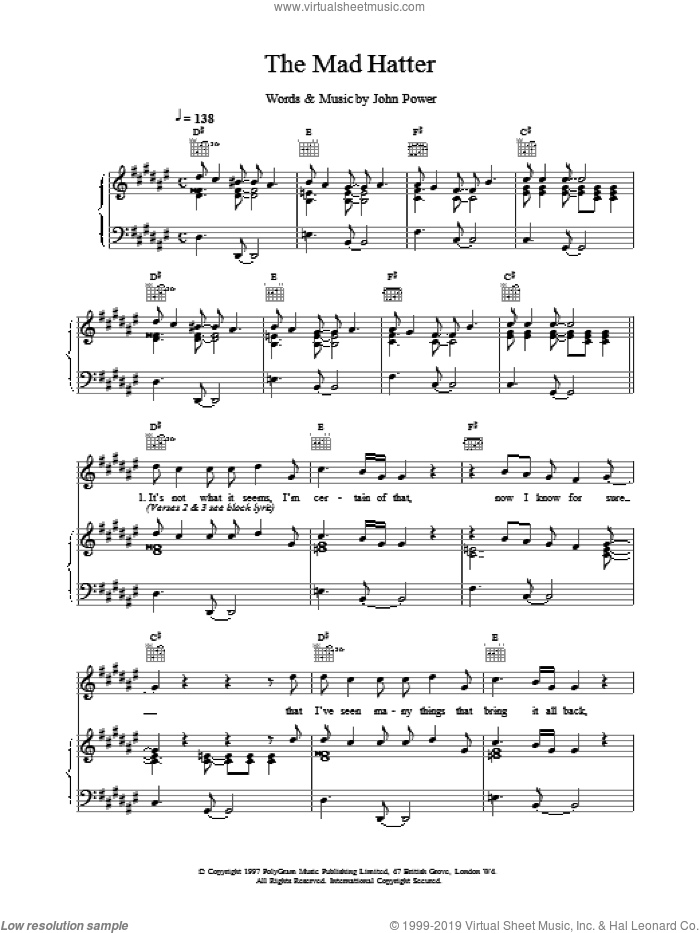 The Mad Hatter sheet music for voice, piano or guitar by John Power, intermediate. Score Image Preview.