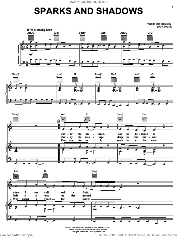 Sparks and Shadows sheet music for voice, piano or guitar by Twila Paris. Score Image Preview.