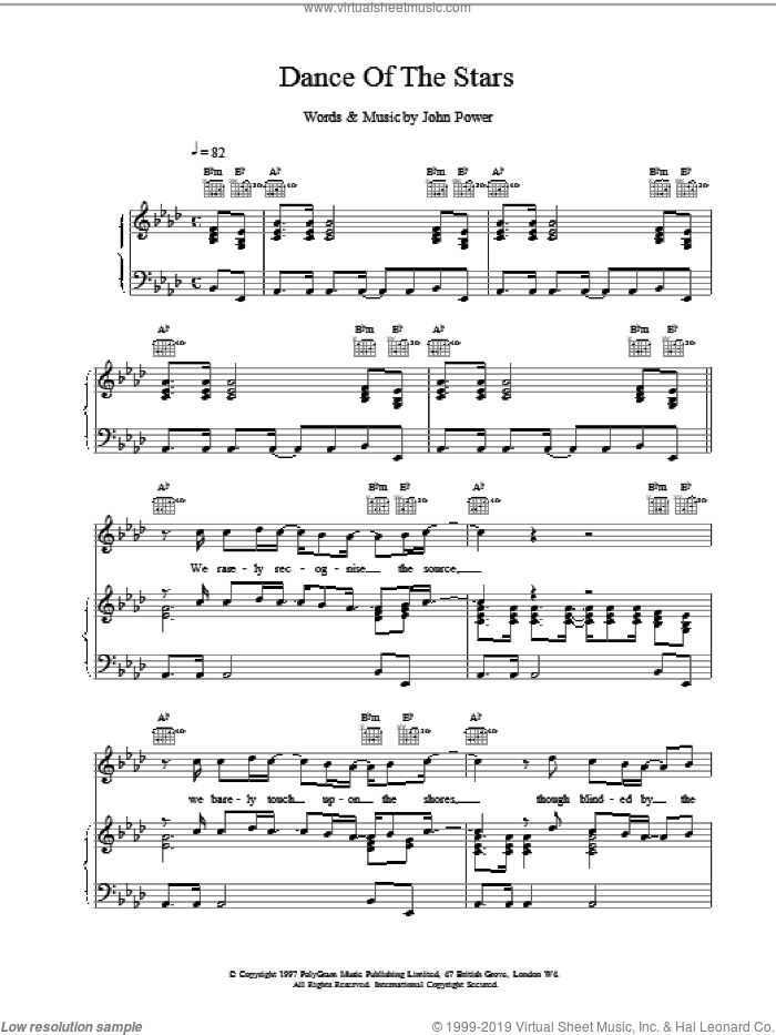 Dance Of The Stars sheet music for voice, piano or guitar by John Power. Score Image Preview.