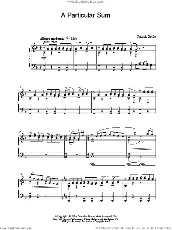 A Particular Sum sheet music for piano solo by Patrick Doyle and Patrick  Doyle, intermediate. Score Image Preview.