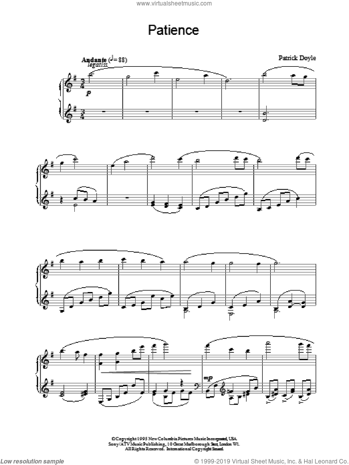 Patience sheet music for piano solo by Patrick Doyle, intermediate piano. Score Image Preview.