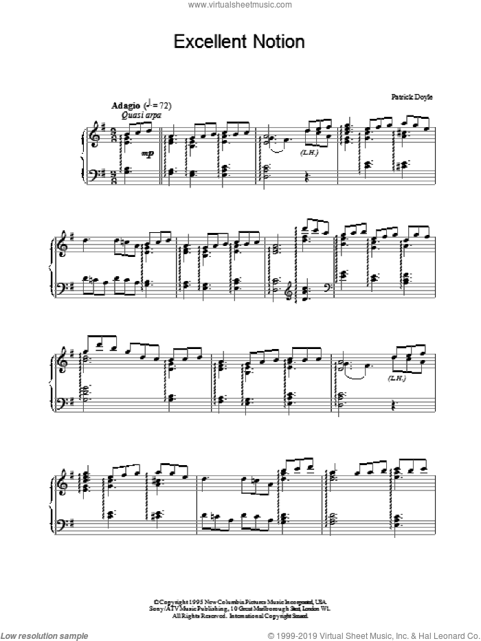 Excellent Notion sheet music for piano solo by Patrick Doyle. Score Image Preview.