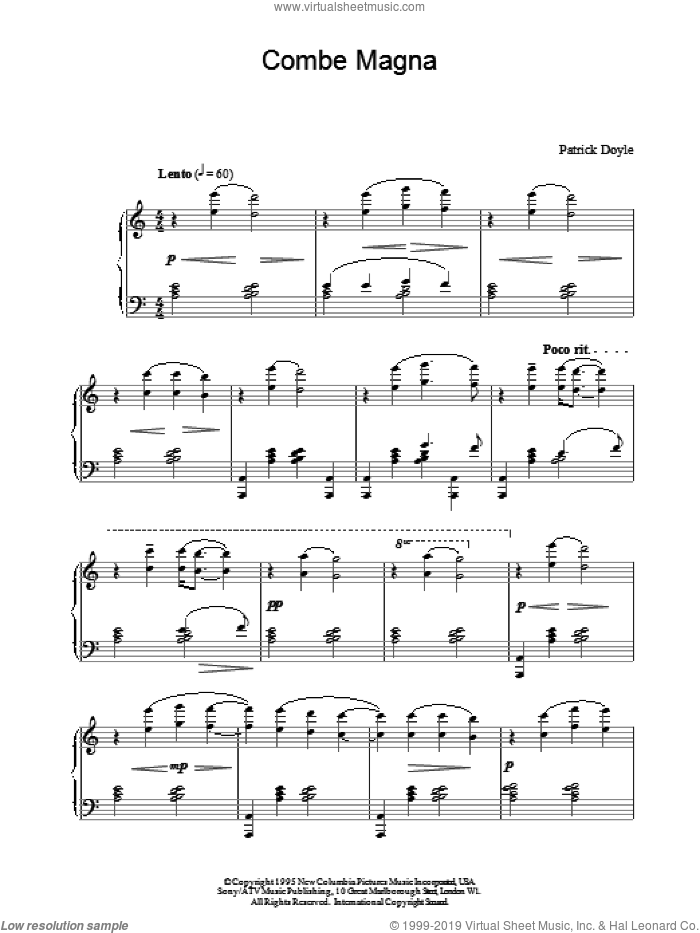 Combe Magna sheet music for piano solo by Patrick Doyle and Patrick  Doyle, intermediate skill level