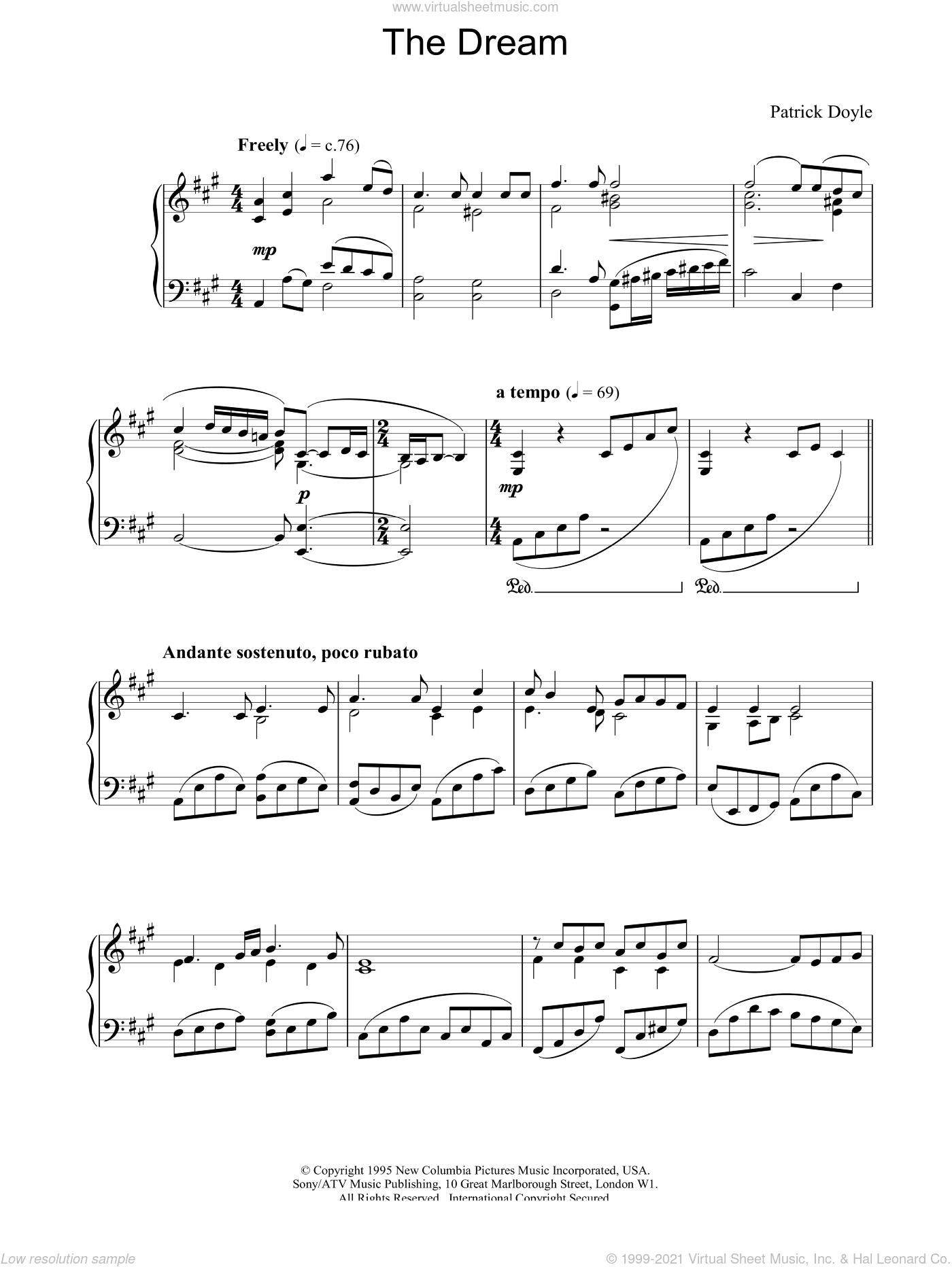 The Dream sheet music for piano solo by Patrick Doyle, intermediate. Score Image Preview.