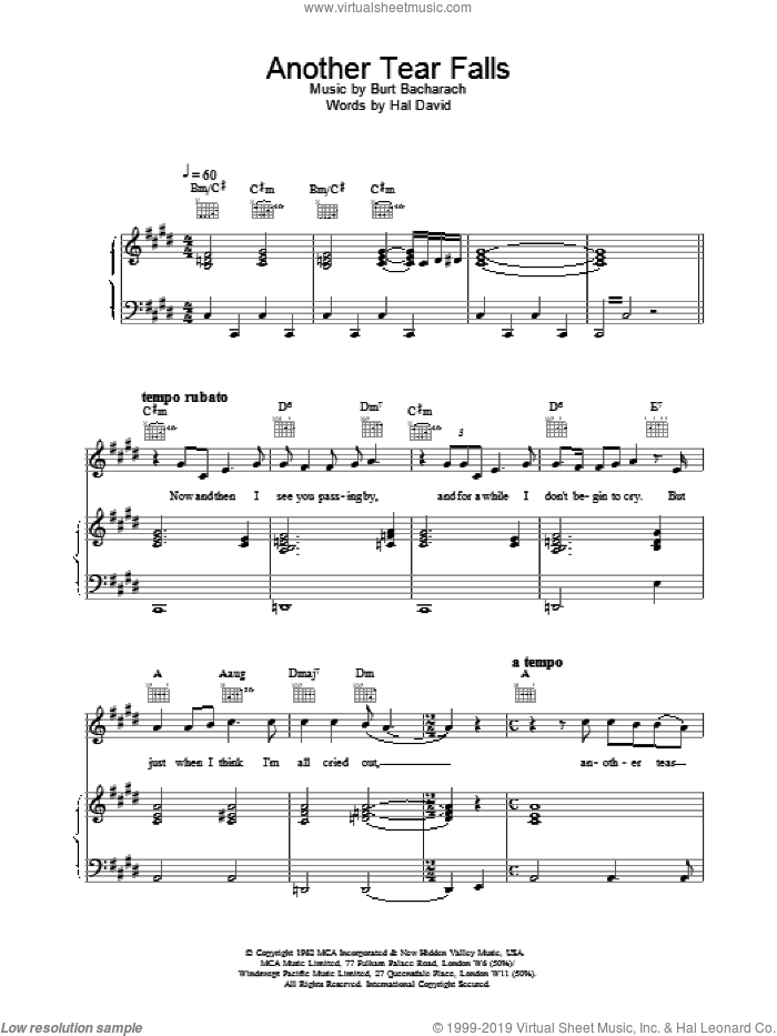 Another Tear Falls sheet music for voice, piano or guitar by Scott Walker
