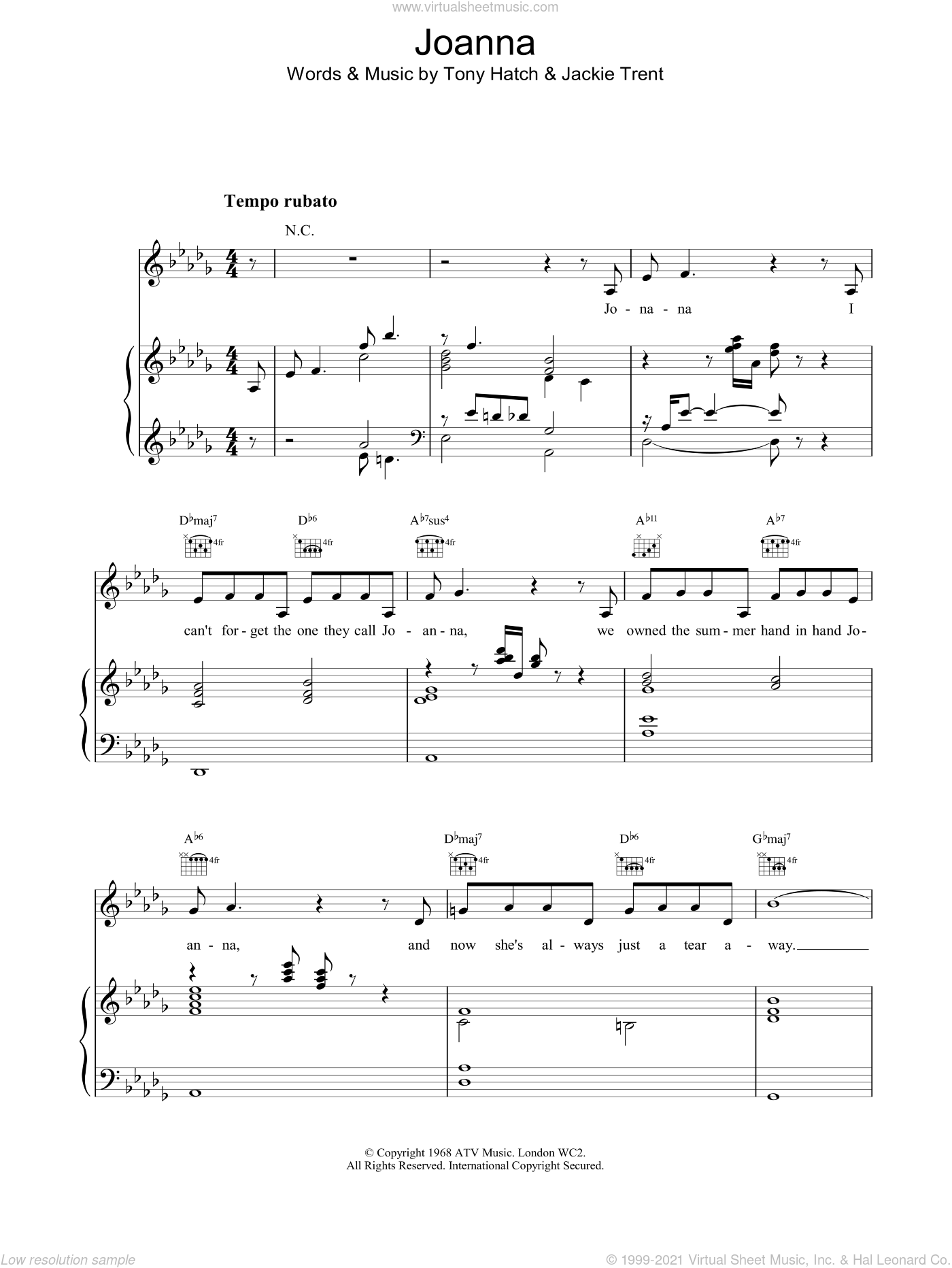 Joanna sheet music for voice, piano or guitar by Scott Walker, intermediate skill level