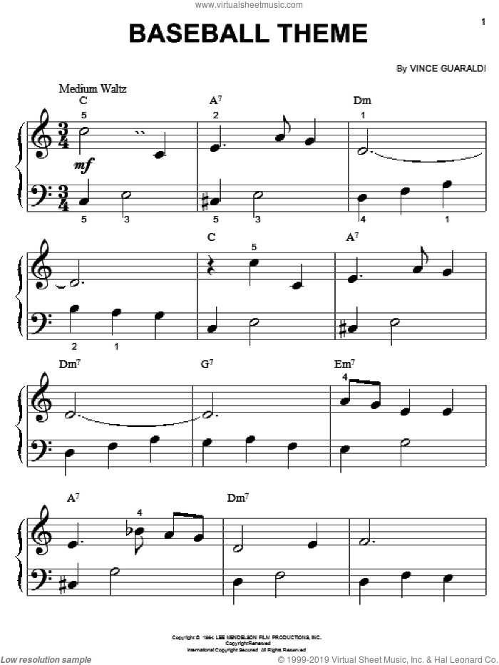 Baseball Theme sheet music for piano solo (big note book) by Vince Guaraldi, easy piano (big note book)