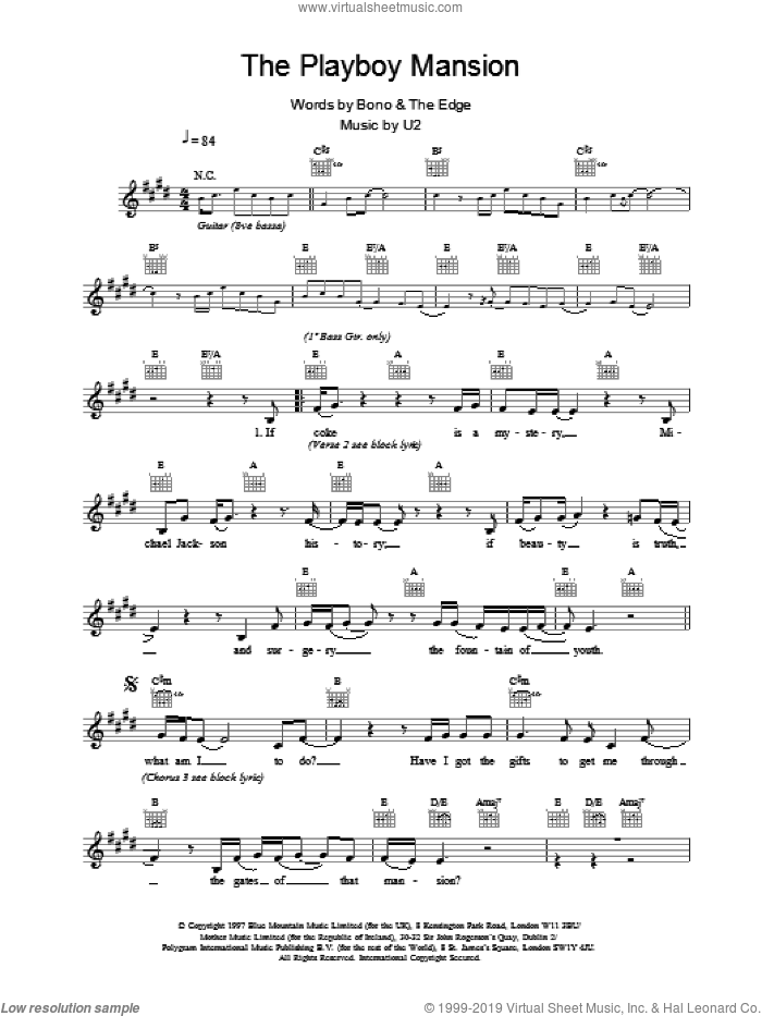 The Playboy Mansion sheet music for voice and other instruments (fake book) by U2. Score Image Preview.