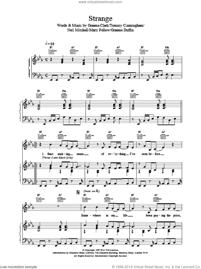 Strange sheet music for voice, piano or guitar by Wet Wet Wet. Score Image Preview.