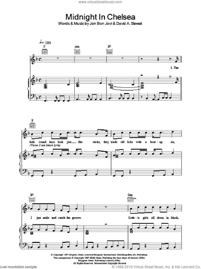 Midnight In Chelsea sheet music for voice, piano or guitar by Bon Jovi, intermediate skill level