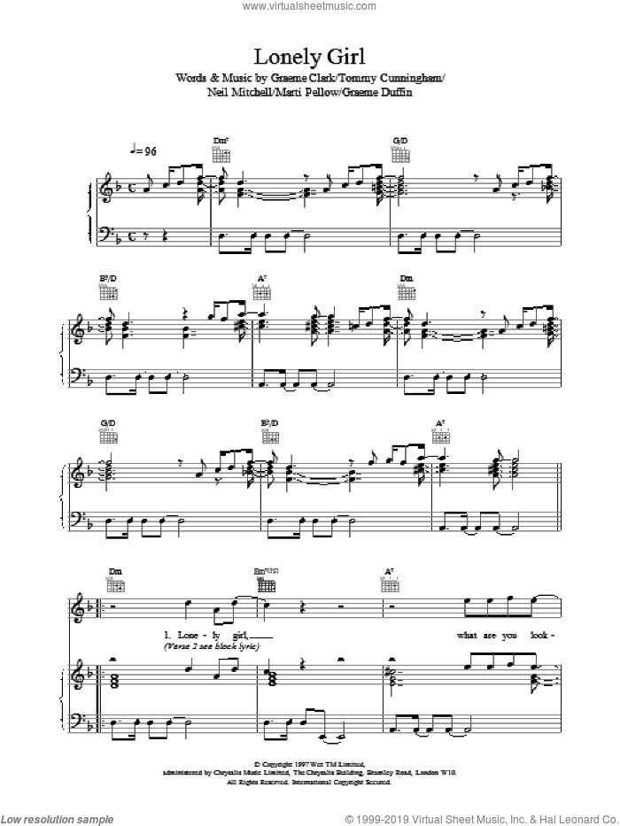 Lonely Girl sheet music for voice, piano or guitar by Wet Wet Wet. Score Image Preview.