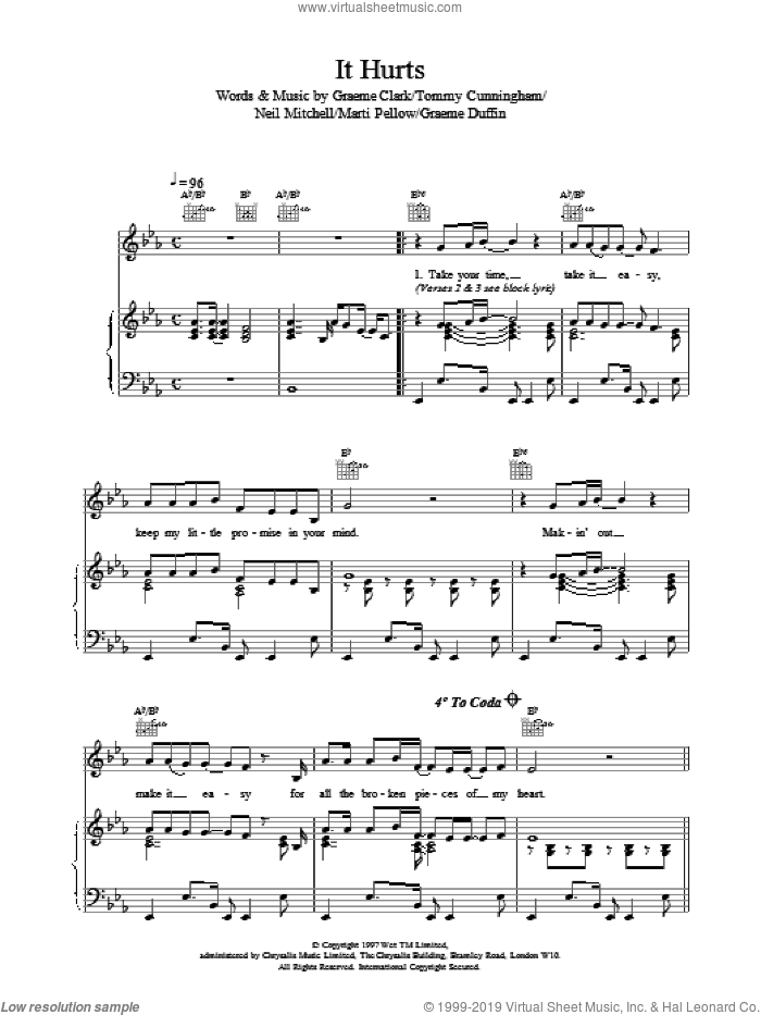 It Hurts sheet music for voice, piano or guitar by Wet Wet Wet
