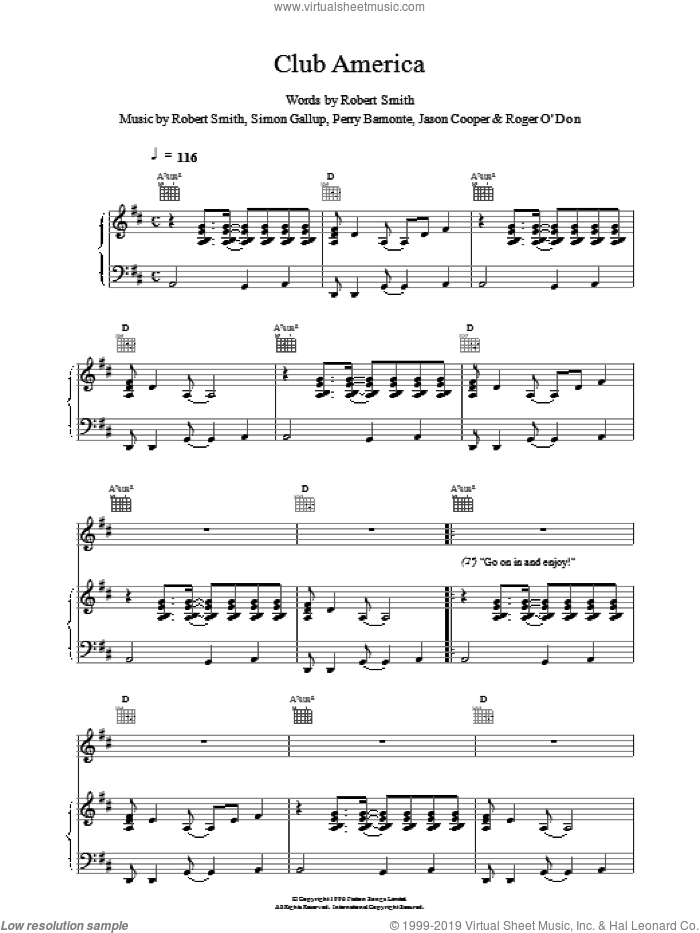 Club America sheet music for voice, piano or guitar by The Cure. Score Image Preview.