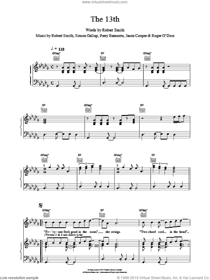 The 13th sheet music for voice, piano or guitar by The Cure, intermediate skill level