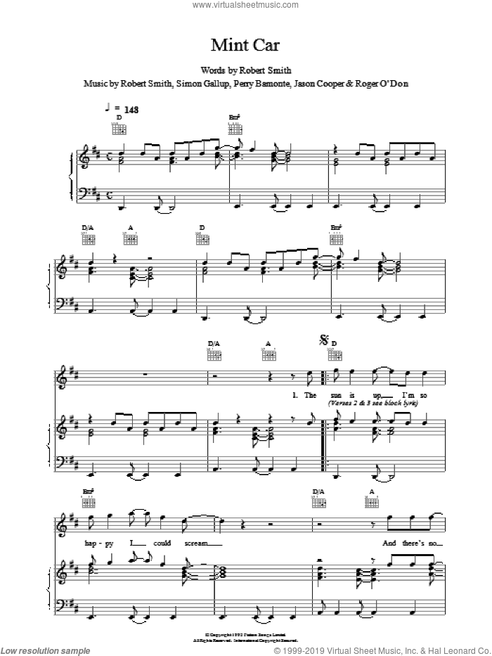 Mint Car sheet music for voice, piano or guitar by The Cure, intermediate. Score Image Preview.