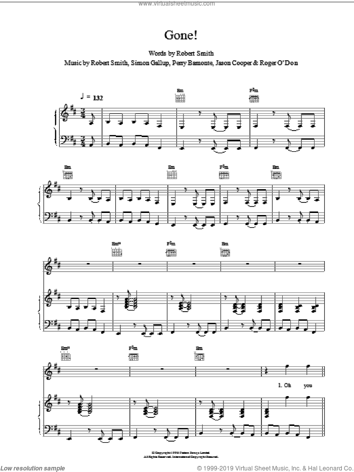 Gone! sheet music for voice, piano or guitar by The Cure