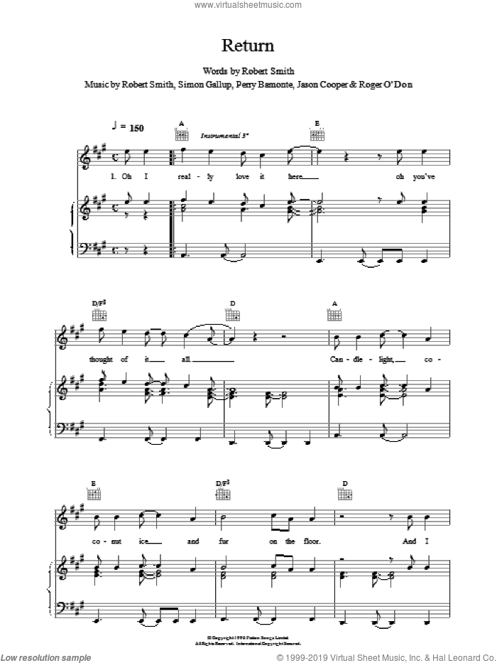Return sheet music for voice, piano or guitar by The Cure, intermediate skill level