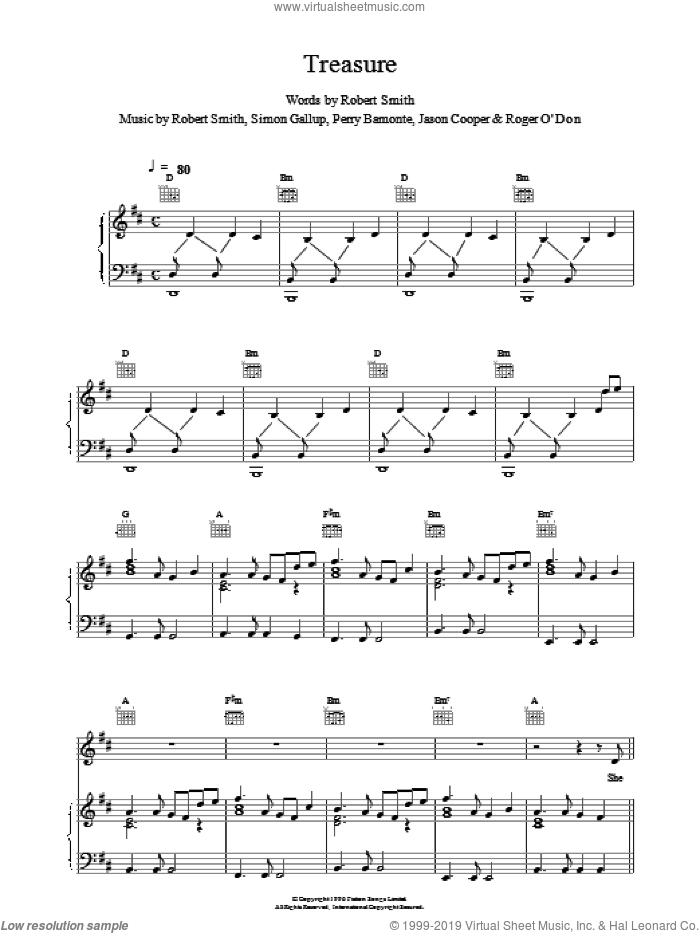 Treasure sheet music for voice, piano or guitar by The Cure, intermediate