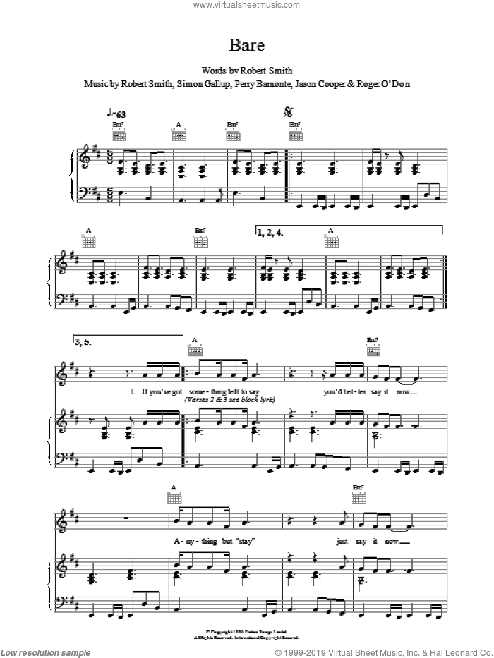 Bare sheet music for voice, piano or guitar by The Cure