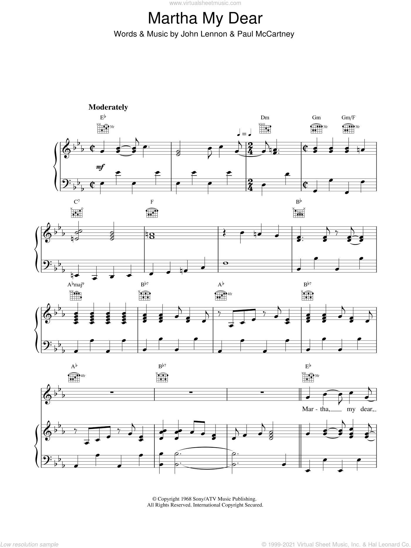 Martha My Dear sheet music for voice, piano or guitar by The Beatles, intermediate. Score Image Preview.