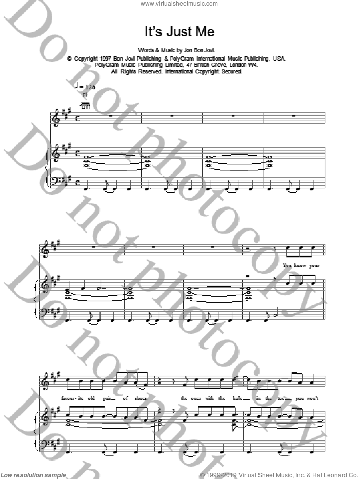 It's Just Me sheet music for voice, piano or guitar by Bon Jovi, intermediate skill level