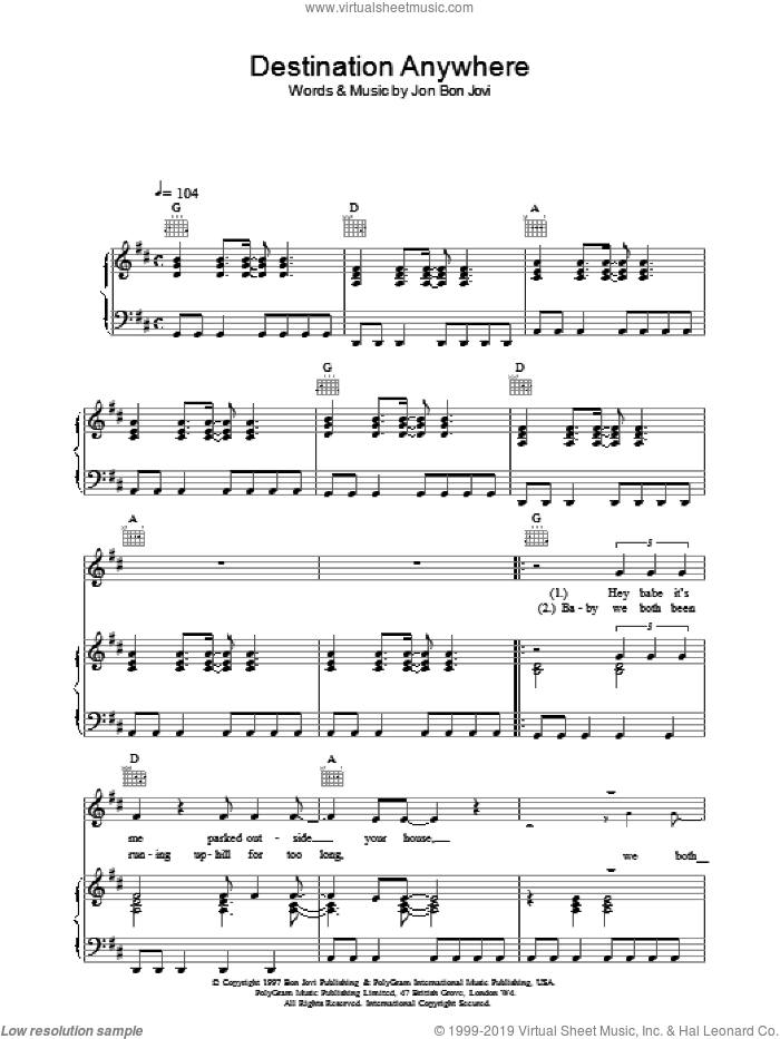 Destination Anywhere sheet music for voice, piano or guitar by Bon Jovi. Score Image Preview.