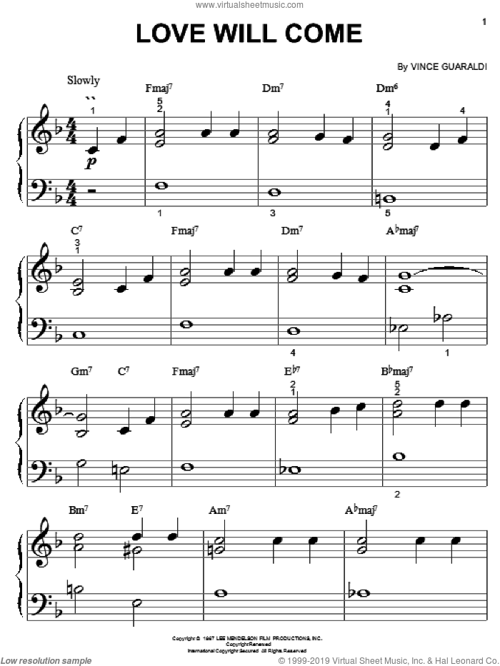 Love Will Come sheet music for piano solo (big note book) by Vince Guaraldi