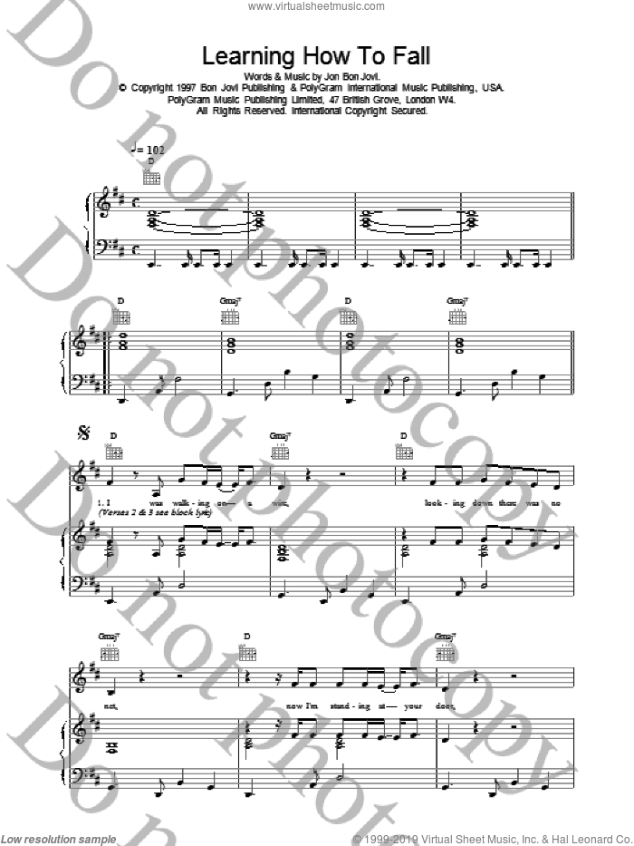 Learning How To Fall sheet music for voice, piano or guitar by Bon Jovi. Score Image Preview.