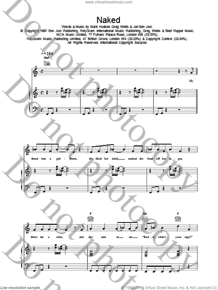 Naked sheet music for voice, piano or guitar by Bon Jovi, intermediate skill level